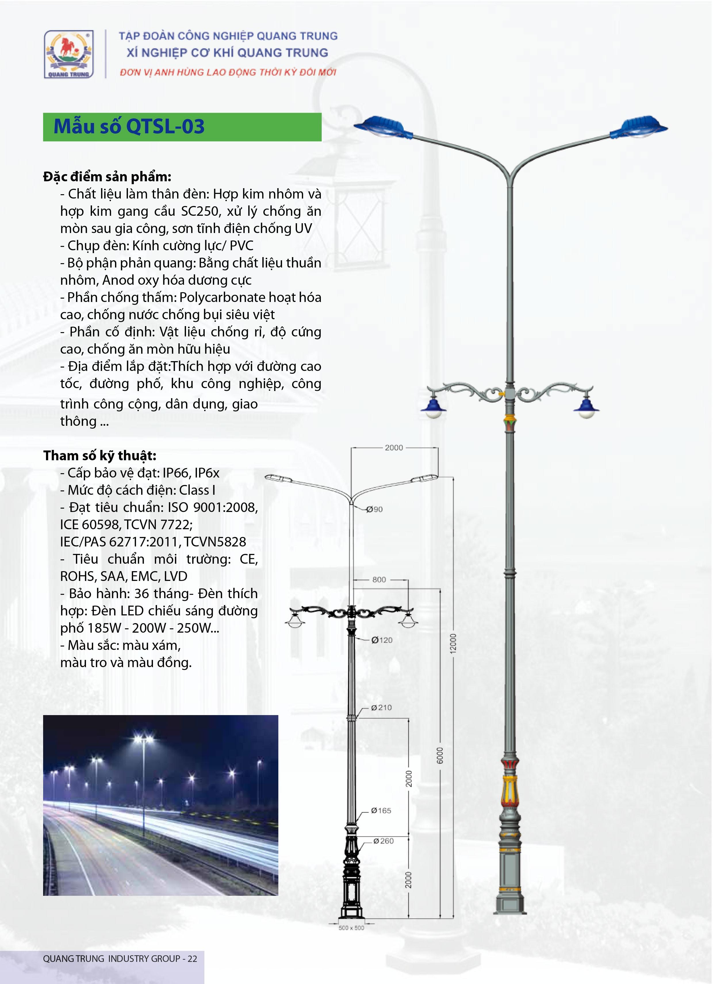 Cột đèn QTSL 03 - Đèn led chiếu sáng đường phố