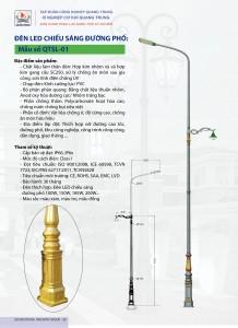 Cột đèn QTSL 01 - Cột đèn led chiếu sáng đường phố